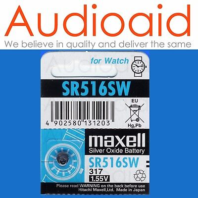 1Pc Sr516Sw (317) Genuine Maxell Silver Oxide Battery - Made In Japan (Not Fake)