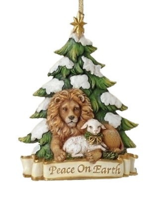 """5.25"""" Lion And Lamb Ornament Peace On Earth by Roman"""