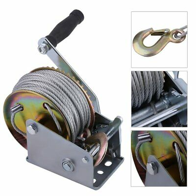Hand Winch Boat Marine Trailer 20M 65Ft Manual With Grip Crank Handle 1200Lbs Uk