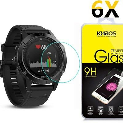 [6 Pack] Khaos For Garmin Fenix 5S Tempered Glass Screen Protector