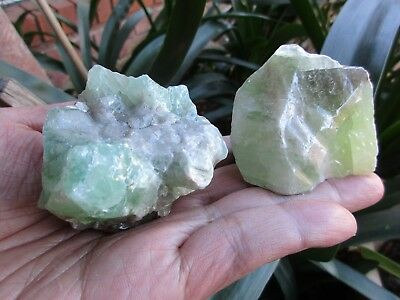 GREEN CALCITE - Mexico - Quality Rough - 233g  lot of 2  NICE!!