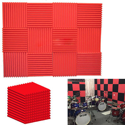 """12 Pack Wedge RED Acoustic Soundproofing Studio Foam KTV Tiles 1"""" x 12"""" x 12"""" A"""