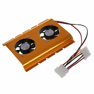 "3.5"" HDD Dual Fan Cooling Cooler Gold Tone for Desktop PC BF"