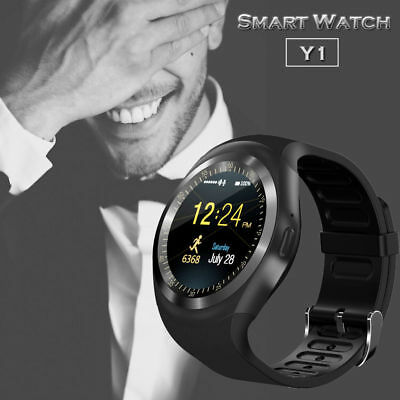 Y1 Bluetooth Smart Watch Phone Mate Sim Card Round Touch Screen for Android IOS