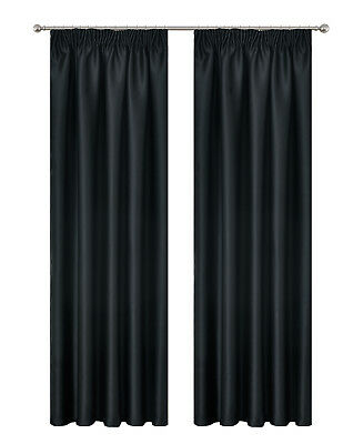 Pencil Pleat Blackout Drop Blockout Curtain Room Darkening  213cm Drop Pc/Pair