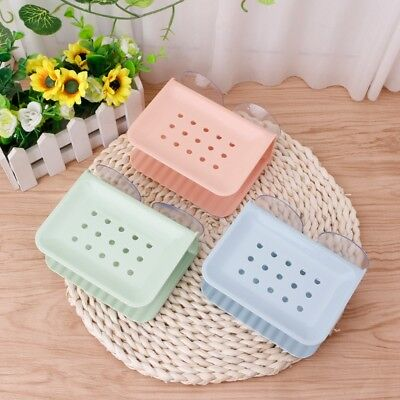 Double Layer Suction Up Shower Soap Box Dish Plate Holder Case Container Bath