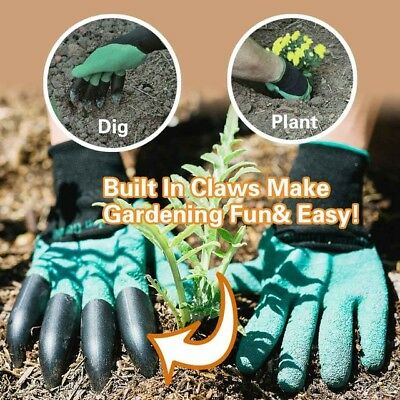 Garden Genie Gloves Digging 4 Plastic Claws Gardening Polyester Digging Gloves