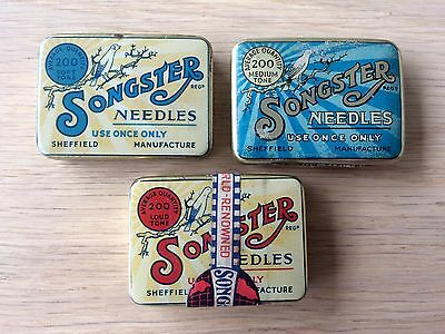 "Vintage 1930's ""SONGSTER "" Gramophone Needle Tins X 3 . One Still Sealed."
