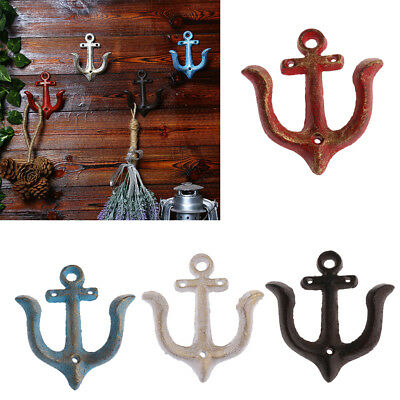 Heavy Duty Cast Iron Anchor Hooks Coat Key Hat Towel Clothes Hook Hanger Rack