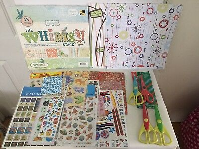 82 sheets of scrapbooking paper 12x12, plus stickers and 4 pairs  paper edgers.