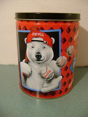 Coca Cola Polar Bear Baseball Tin + Lid 1997