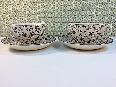 2 Laura Ashley Susanna Tea Cups & Saucers 1980s Johnson Bros Black Cream