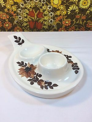 Vintage Jersey Pottery Egg Cup Plate with Spoon or 2nd Egg Rest 1960s 1970s
