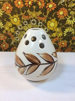 Vintage Jersey Pottery Cream Brown Posy Bowl Pot Pourri Flower Frog 1970s Boho