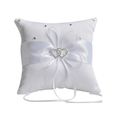 Satin Double Hearts for Decoration Wedding Ring Bearer Pillow Ivory G8N4