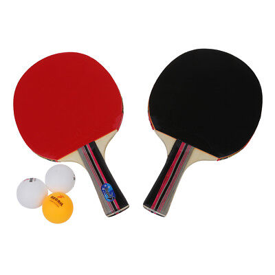 Table Tennis Set 2 Racket+3 Ball+1 Racket Pouch Long Handle Shake(Red) H7Q8