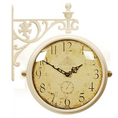 Antique Vintage Double Sided Wall Clock Home Decor Station Clock Gift M195IVCRA