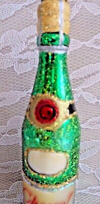 OWC Glass Christmas Ornament - OLD WORLD CHRISTMAS CHEERS WINE BOTTLE w/TAG