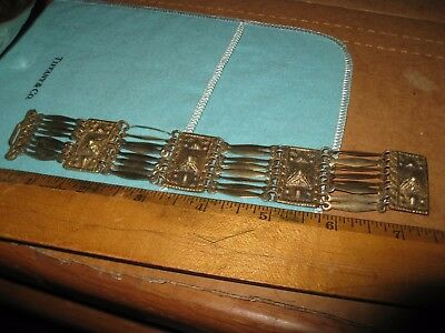 "7 1/2"" Taxco Sterling Silver & Gold Pyramid Panel Bracelet"