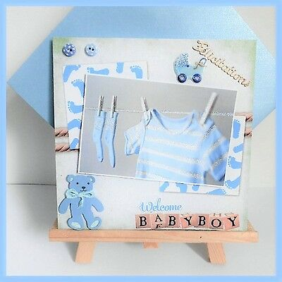 carte de naissance bleue 'Welcome Baby Boy'