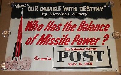 Our Gamble with Destiny 1959 Poster Missile Power Nukes Saturday Evening Post