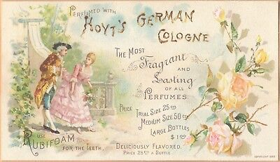 Victorian Trade Card-Hoyt's German Cologne-Lowell, MA-Dressy Couple-Yellow Roses