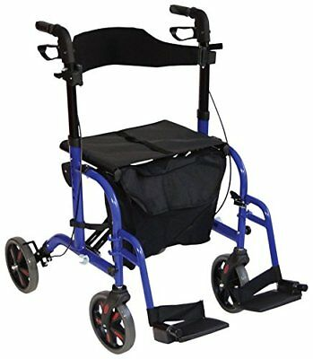 Ability Superstore Duo Deluxe rollator and Transit Chair, blu (g4f)