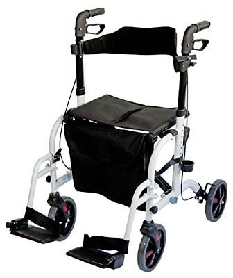 Ability Superstore Duo Deluxe rollator and Transit Chair, bianco (r7n)