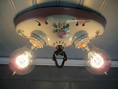 Vintage Antique Art Deco Flush Mount Porcelain Two Light Ivory Ceiling Fixture
