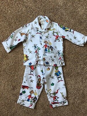 Pottery Barn Kids Toddler Size 2T Grinch White Flannel Pajamas CHRISTMAS