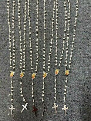 12 x wholesale bulk Wooden rosary necklace for baptism , wedding, memorial