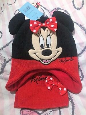 Disney Minnie Mouse Hat and Scarf Set Brand New Age 6-10 Years