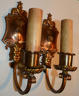 Pair Antique Original  Hubbell Patent Pend. Victorian Wall Sconces Attic Find!