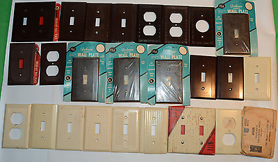 Large Lot Antique Bakelite Wall Plates Ornate & Smooth 1930's - 1950's