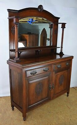 Victorian Sideboard, Antique Mahogany Mirror Backed Sideboard, Old Furniture