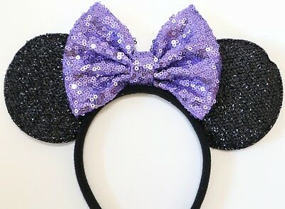 Disney Inspried Minnie Mouse Purple Sequin Bow Headband Ears/Purple Minnie Ears