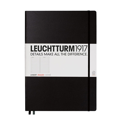 LEUCHTTURM1917 327150 Notebook Master (A4+), 233 numbered pages, ruled, black
