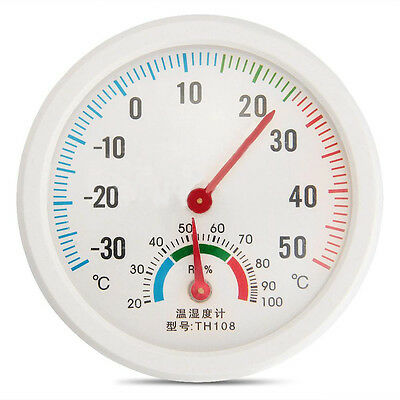 Quality  Analog Hygrometer & Thermometer insert 75mm Round 2 in 1 white finish