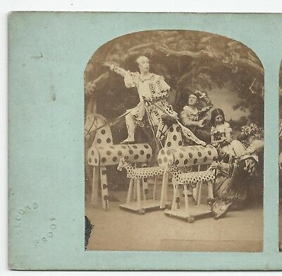 Stereo Stereoview Genre CLOWN Pantomime Toy Horse Theatre London 1850er