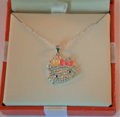 Hello Kitty sterling silver crystal pendant necklace