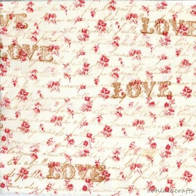 LOVE vintage french script red floral ribbon hand stamped trim craft Muslin c780