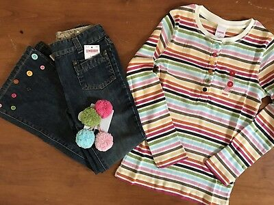 Gymboree Lots Of Dots Top Jeans Pony Holders 7 NWT