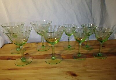 8 Vintage Uranium Green Vaseline Goblet Stemware dessert wine Glasses cut glass