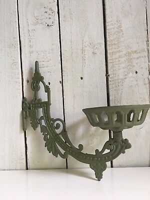 Victorian Eastlake vintage cast iron oil lamp wall sconce holder sage green