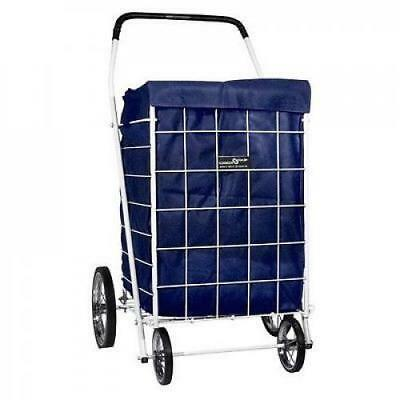 Folding Shopping Cart Dark Blue Liner with Hood For Rolling Utility Trolley