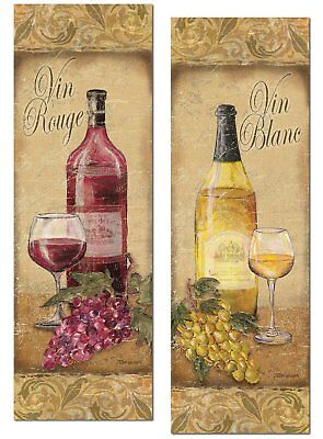 2 Vintage Tuscan White and Red Wine Bottle and Grape Set; Two 6x18in Poster
