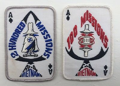 VTG F-4 Phantom Patch Lot 1 & 2 Hundred Missions Vietnam Ace Of Spades