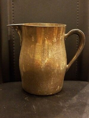 "Academy Silver On Copper Pitcher Beautiful Vintage Modern 1960s 4""D 7""H No.15"