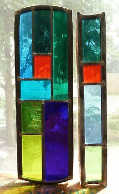 Two Geometric Stained Glass panels  suncatchers - #2