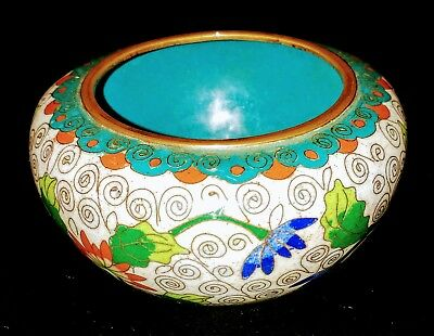 Antique Vintage Cloisonne Champleve Floral miniature small Bowl